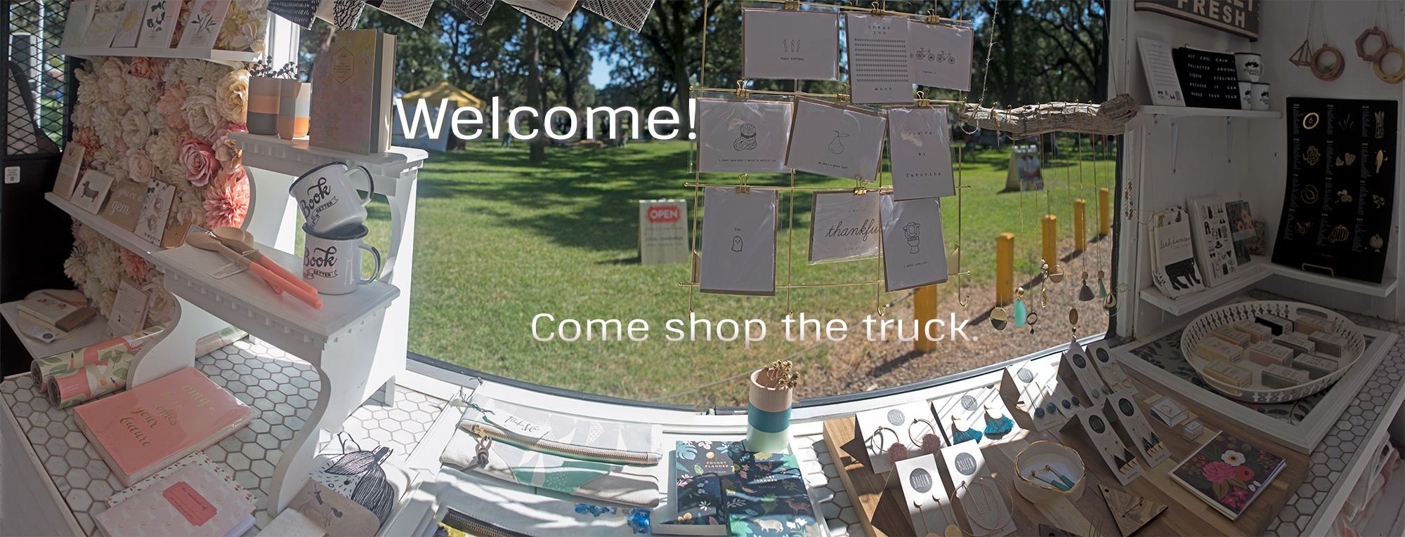 Panorama of Bloom Truck inventory left side